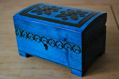 Wooden Carved Jewellery Chest Lock And Key In Blue Color