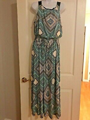 NY Collection Women's XL Maxi Dress White & Black with Bright Graphic Print