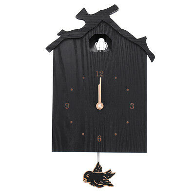 Retro Cuckoo Wall Clock Black Home Antique Vintage Style Wood Pendulum, Battery