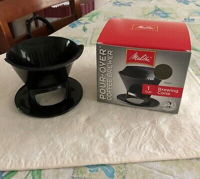 Melitta POUR OVER COFFEE BREWER 1 CUP Brewing Cone Black BPA Free in BOX