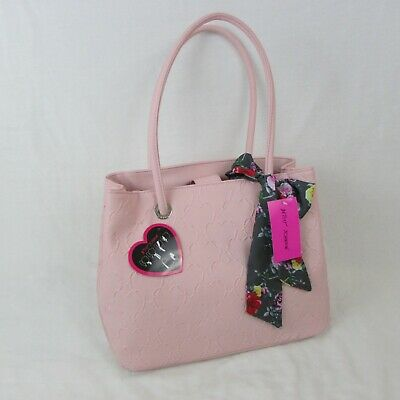 Betsey Johnson Large Tote with Scarf Light Pink Heart Pattern Floral Scarf New