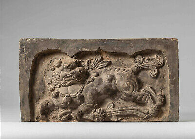 Tang Dynasty Terracotta Sanctuary Brick relief depicting a Galloping Chimera