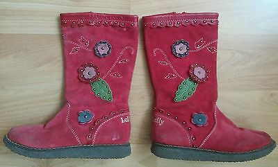 Lelli Kelly Girls Red Suede Floral Leather ZIP-Up Boots EUR Sz. 27 Youth Kids