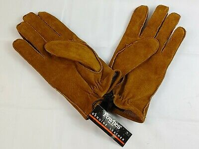 New Fownes Genuine Leather Gloves Size Medium Brown Suede 100% Wool Lining
