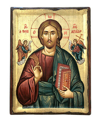 100% HANDPAINTED BYZANTINE ORTHODOX ICON Christ Pantocrator 10.2X7.5 inch. WOOD