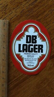 1 x 745ml DB LAGER TIMARU NEW ZEALAND BEER LABEL.
