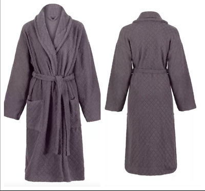 Womens M&S Dressing Gown New Floral Embossed Grey Fleece Bath Robe 12-14