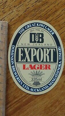 """1 x 335ml DB EXPORT LAGER """"GREAT KIWI LAGER"""" NEW ZEALAND BEER LABEL"""