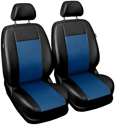 Front Leatherette seat covers fit Dacia Duster 1+1 black/blue