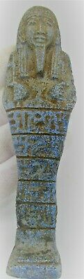 Circa 664 - 332Bce Ancient Egyptian Glazed Faience Ushabti Shabti With Heiroglyp