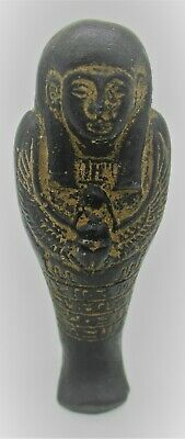 Circa 664 - 332Bce Ancient Egyptian Black Glazed Ushabti Shabti With Heiroglyphs