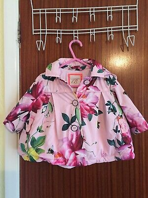STUNNING FLORAL TED BAKER GIRLS  WATERPROOF HOODED COAT IN AGED 3-6m