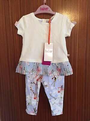 STUNNING GENUINE TED BAKER BABY GIRLS TWO PIECE OUTFIT AGED 6-9m BRAND NEW TAGGE