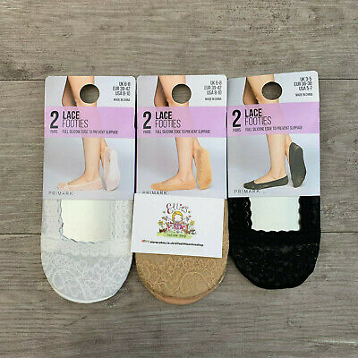 Ladies 2 Pairs Lace Footies Primark Womens Invisible Socks Girls Liners Casual