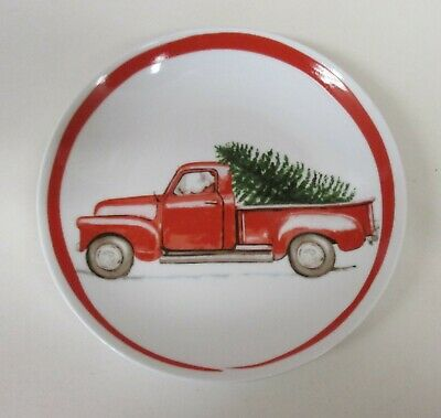 "222 Fifth Winter Cheer Red Truck Christmas 8 Appetizer Party Plates 6.5""  NWT"