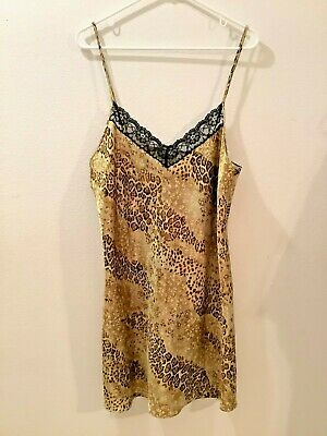CALIFORNIA DYNASTY Womens Large Chemise Short Nightgown Poly Satin Brown Animal