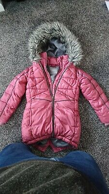 Next Girls Winter Coat Jacket Aged 7 Years Hooded With Fur Trim