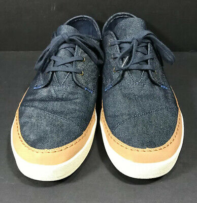 Toms Navy Denim Canvas Lace Up Sneakers Shoes Mens 12