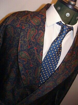 Vintage M/S Paisley Pattern Dressing Silky Gown Smoking Jacket