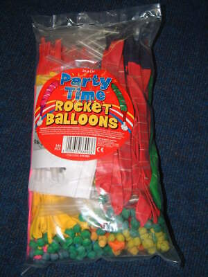 Great Party Fun Rocket Balloons with mouthpiece Pack of 144 Various Colours