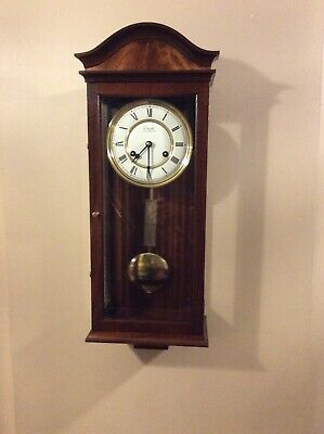 Vintage Comitti Of London Wooden Striking Bell Pendulum Wall Clock