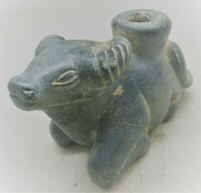 Old Western Asiatic Chlorite Stone Carving Of A Bull Superb