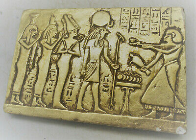 Beautiful Old Antique Egyptian Gold Gilded Stone Tablet With Scene