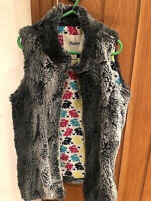 Hatley Grey Silver Faux Fur Gilet Soft Rabbit Print Lining Girls Age 8 Stunning