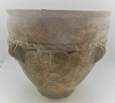 Very Interesting Unresearched Ancient Near Eastern Clay Pot With Humanoid Faces