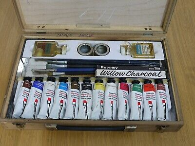 Vintage Rowney Oil Paint Brushes Set in Wooden Box