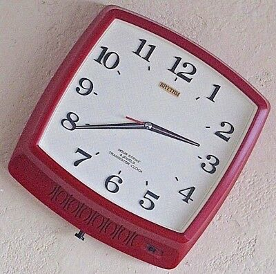 Vintage Red Wall Clock Rhythm Hour Strike 4 Jewels Transistor Working