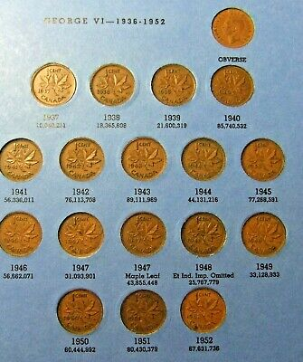 18 Small Canada Pennies - 1937 to 1952 - Circulated