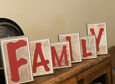 Rustic Wooden Family  Letter Blocks  Decorative Sign
