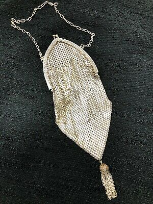 ANTIQUE ART DECO CATHEDRAL Silver Plated roushed Metal MESH tassel PURSE BAG