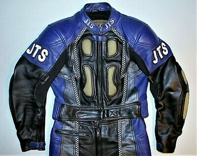 """Jts Mens Two Piece Leather Motorcycle Racing Suit Medium Ce Armour Chest 40"""""""
