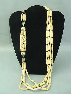 "Antique Chinese Hand Carved Buffalo Bone Necklace 31"" long Nice old patina"