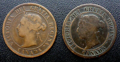 Canada 1894 & 1890H Large Victorian Cents Canada Ship $1.99 Us