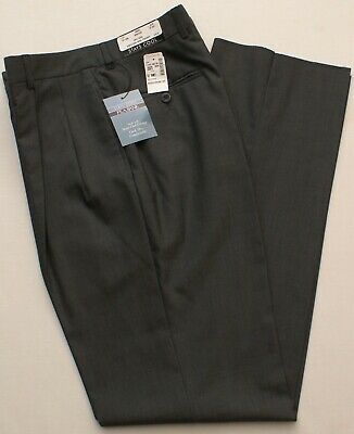 New Jos. A Bank Windsor Pleated Stays Cool Wool Gray Dress Pants 32 S, Unhemmed