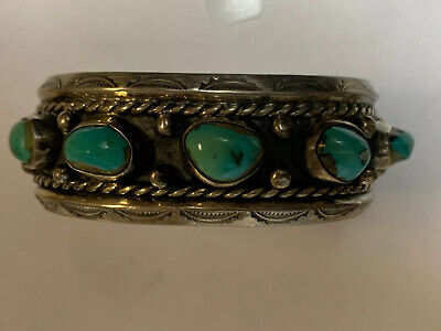 Antique Native American Sterling Silver & Turquoise Cuff Bracelet