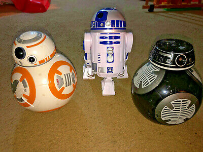 Disney Store Star Wars R2-D2, BB-8 AND BB-9E Talking Interactive Droids Lot of 3