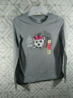 New Faded Glory Girls T Shirt Size L Gray Hedgehog I Just Want a Hug Glitter