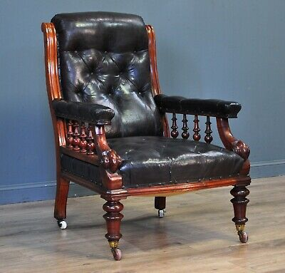 Lovely Antique Button Back Mahogany Frame Fireside Armchair Chair