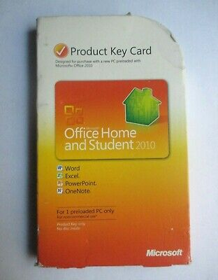 Microsoft Office Home And Student 2010 Product Key Card - For One PC Only