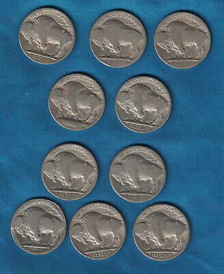 Set of 10 Indian Head / Buffalo 5 Cent Nickels from the US.