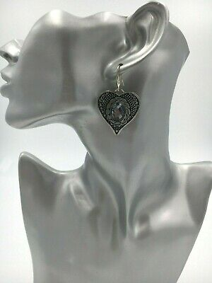Ladies Large Heart Vintage Silver Tone Grey Oval Faceted Stone Pierced Earrings