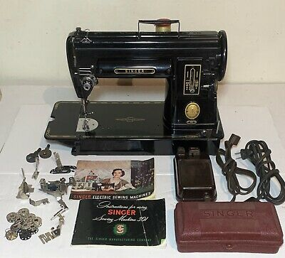 Vintage Singer 301A Black Slant Needle Sewing Machine W/ Buttonholer & Extras