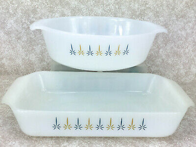 Anchor Hocking Fire King Casserole Dish Candle Glow 1.5 Qt  Set of 2