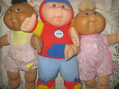 3 Baby Cabbage Patch Kids Soft Dolls-  2 Dressed - 1 Rattle