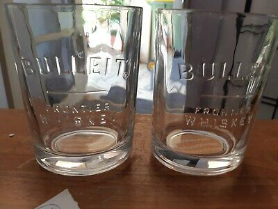 bulleit bourbon oval embossed glasses x2 (large size) in a box