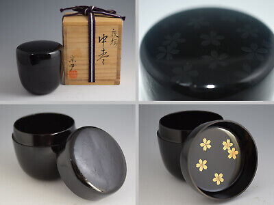 Japanese Dark Lacquer Work CHERRY BLOSSOM / PETAL in Night Tea Caddy Natsume 167